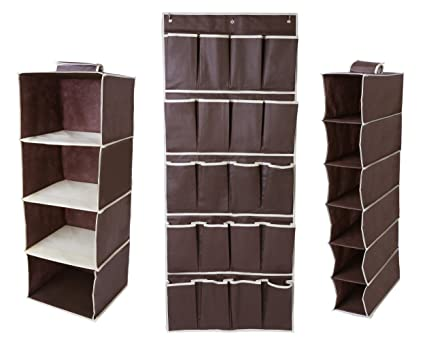 Hanging closet organizer set includes hanging 4 shelf 6 shelf and 20