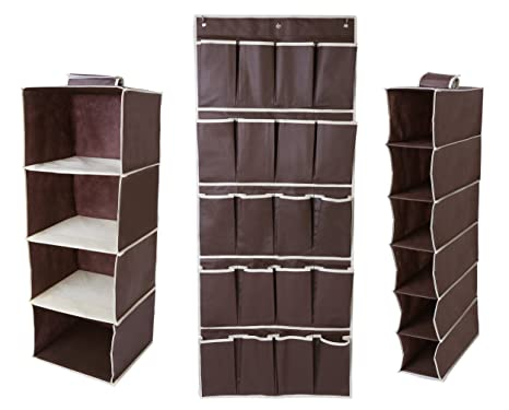 Juvale Hanging Closet Organizer Set - Includes Hanging 4-Shelf, 6-Shelf and  20 Pocket Shoe Storage Set - Space Saving Design for Bedroom Closet ...