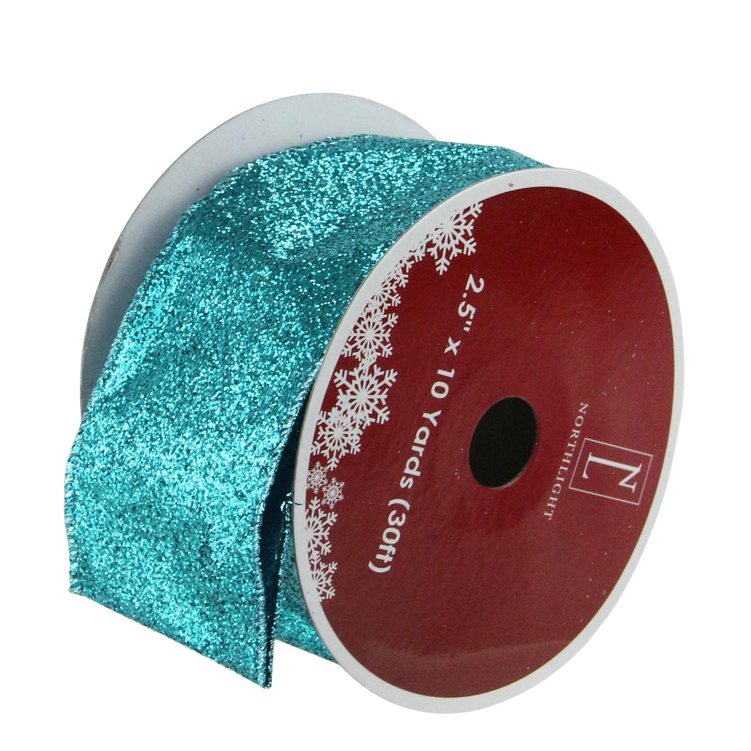 Northlight Pack of 12 Shimmering Teal Solid Wired Christmas Craft Ribbon Spools - 2.5'' x 120 Yards Total
