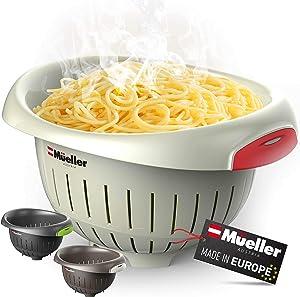 European Made Colander/Strainer, Heavy Duty Deep for Draining Pasta, Lettuce, Vegetables and Fruit, Dishwasher Safe, Beige