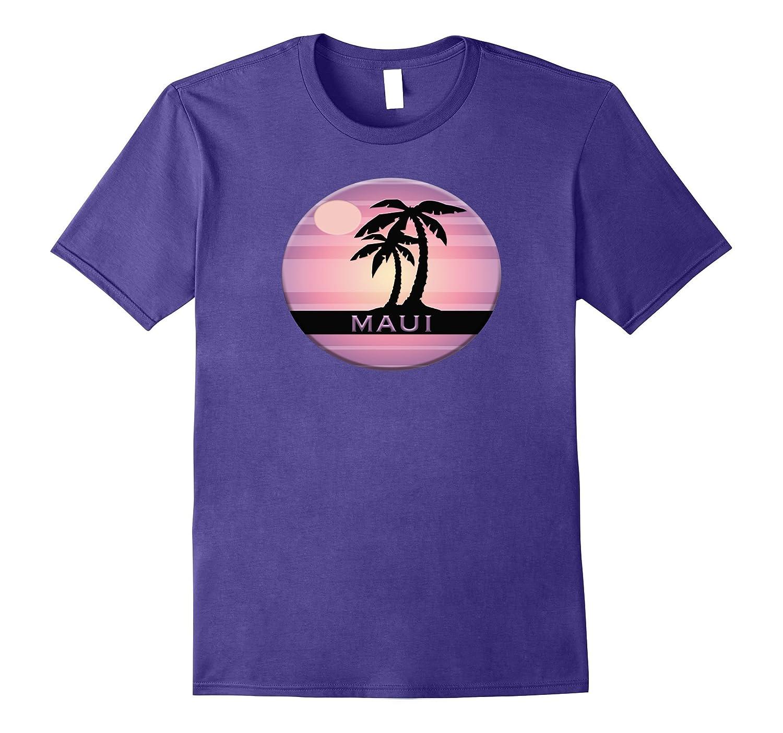 MAUI Souvenir T Shirt Tropical Palm Sun Beach Hawaii Travel-PL