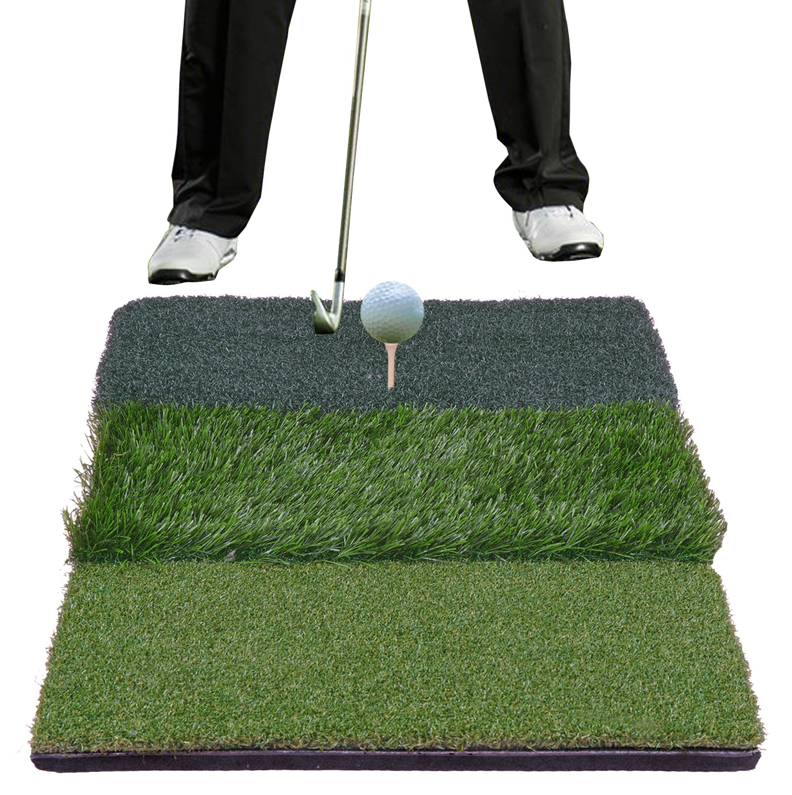 HOMGARDEN Golf Hitting Mat (25'' x 16'') Three Turf Types with Rubber Tee for Driving, Chipping and Putting Golf Practice and Training