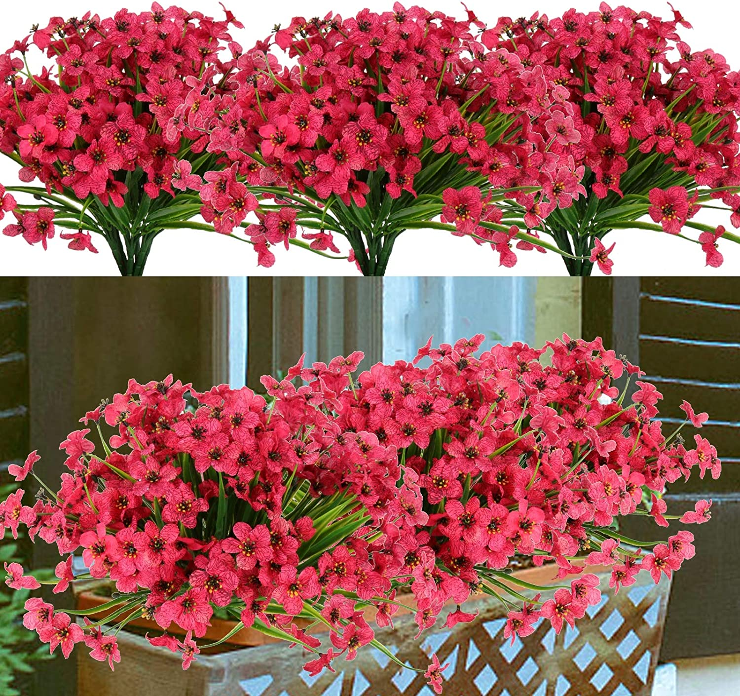 U/N 8 Bundles Artificial Flowers Outdoor UV Resistant Fake Flowers No Fade Faux Plastic Greenery Plants for Hanging Planter Garden Porch Window Box Patio Home Decoration (Rose Red)