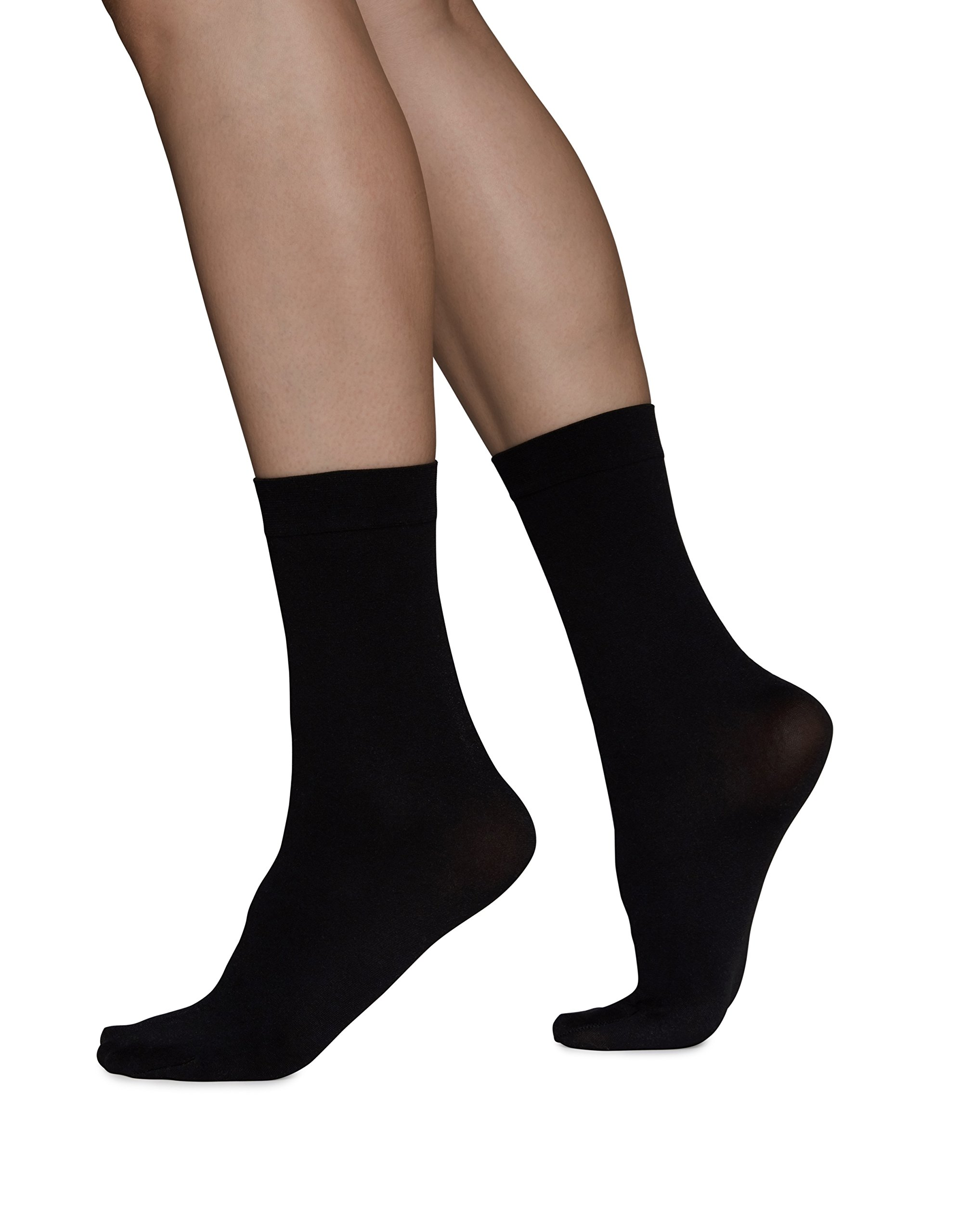 Swedish Stockings INGRID ANKLE Black Socks - 60 Denier Medium Coverage for Women with Elastic Top - ONE SIZE