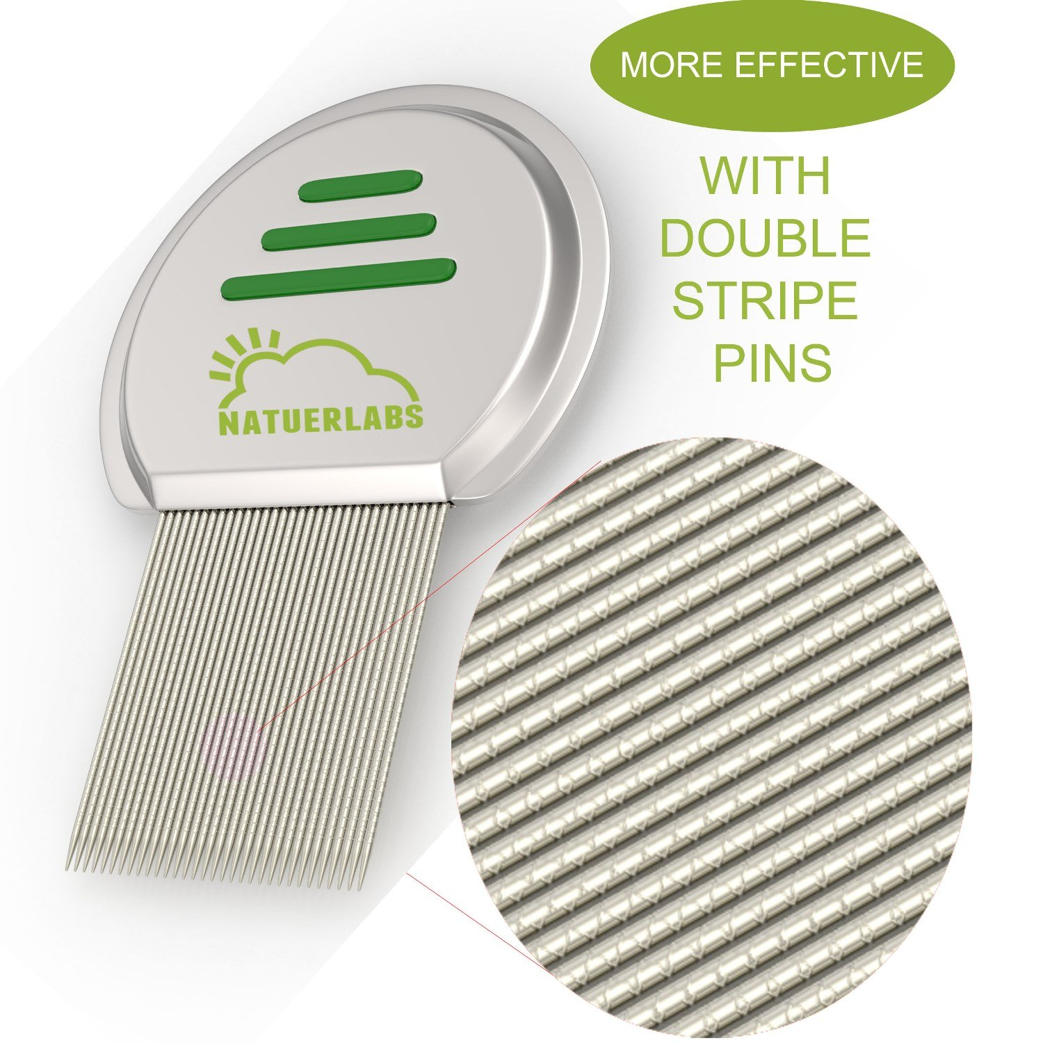 Metal Nit & Lice Comb - Safely & Easily Removes Nits & Head Lices with 33 Double Stripe Pins - More Effective Louse Removal Than Single Stripe Combs. The Best Head Lice Treatment on the Market (1)