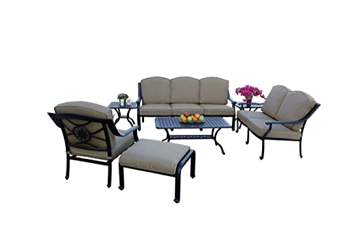 Darlee Ten Star 7-Piece Deep Seating Conversation Set Cushions, 21-Inch Square End Tables and 21-Inch by 42-InchCoffee Table, Antique Bronze