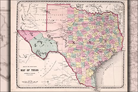 1870 Map Of Texas.Amazon Com 16x24 Poster Map Of Texas 1870 Everything Else