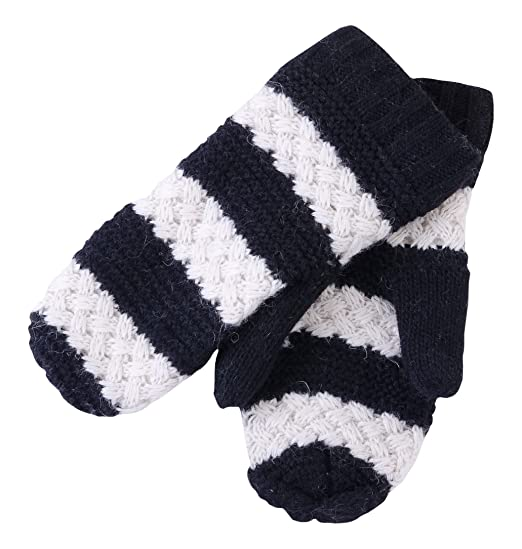 Tickled Pink Womens Faux Fur Lined Mittens Lightweight Striped