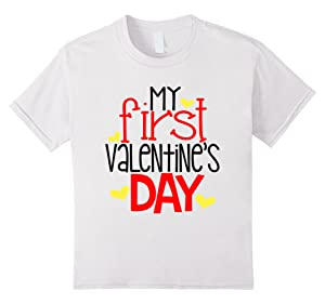 Kids My First Valentines Day Shirt Kids School Love Son Daughter 12 White