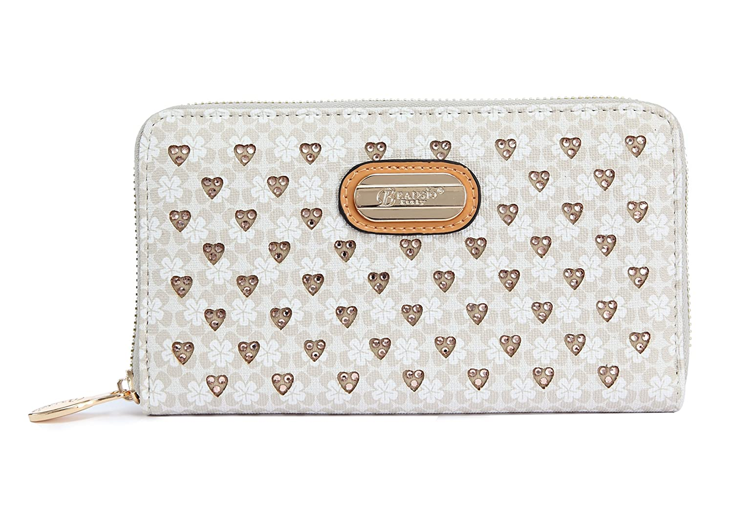 RLW8368 Brangio Italy Collections Double Layer Engraved Crystal Multipocket Zippered Wallet