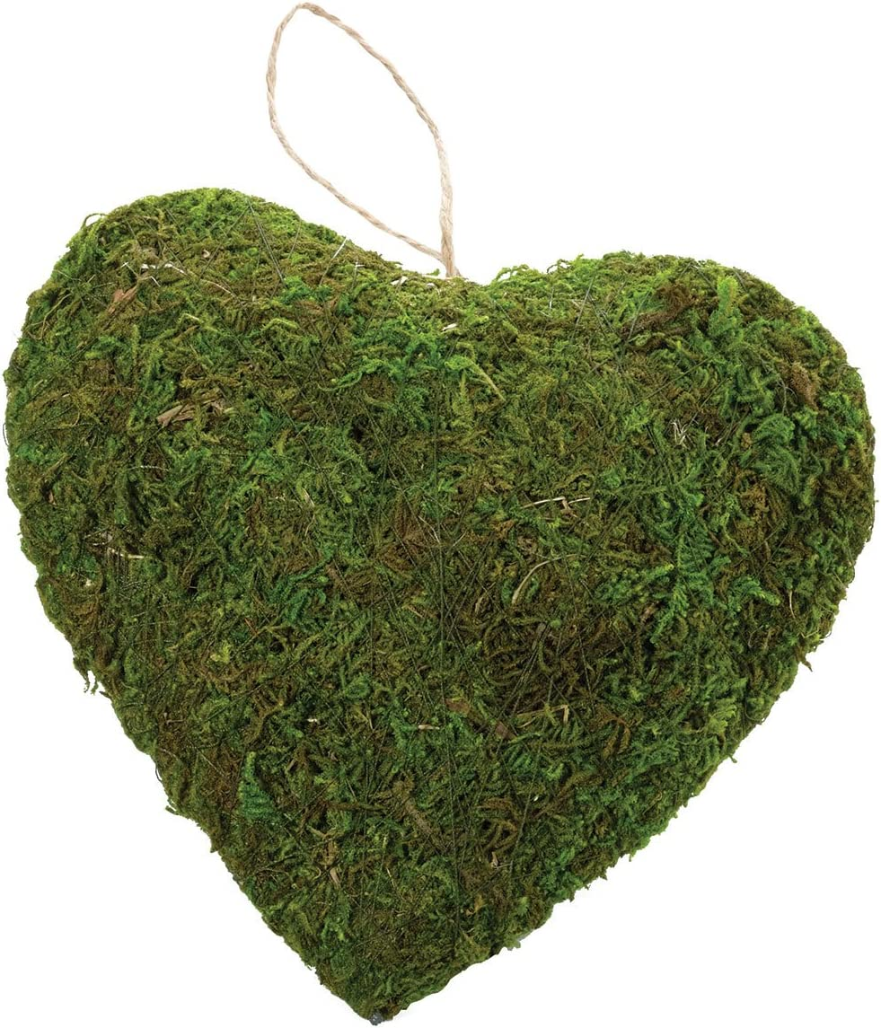 Lillian Rose Rustic Green Moss Hanging Heart Wedding Decor