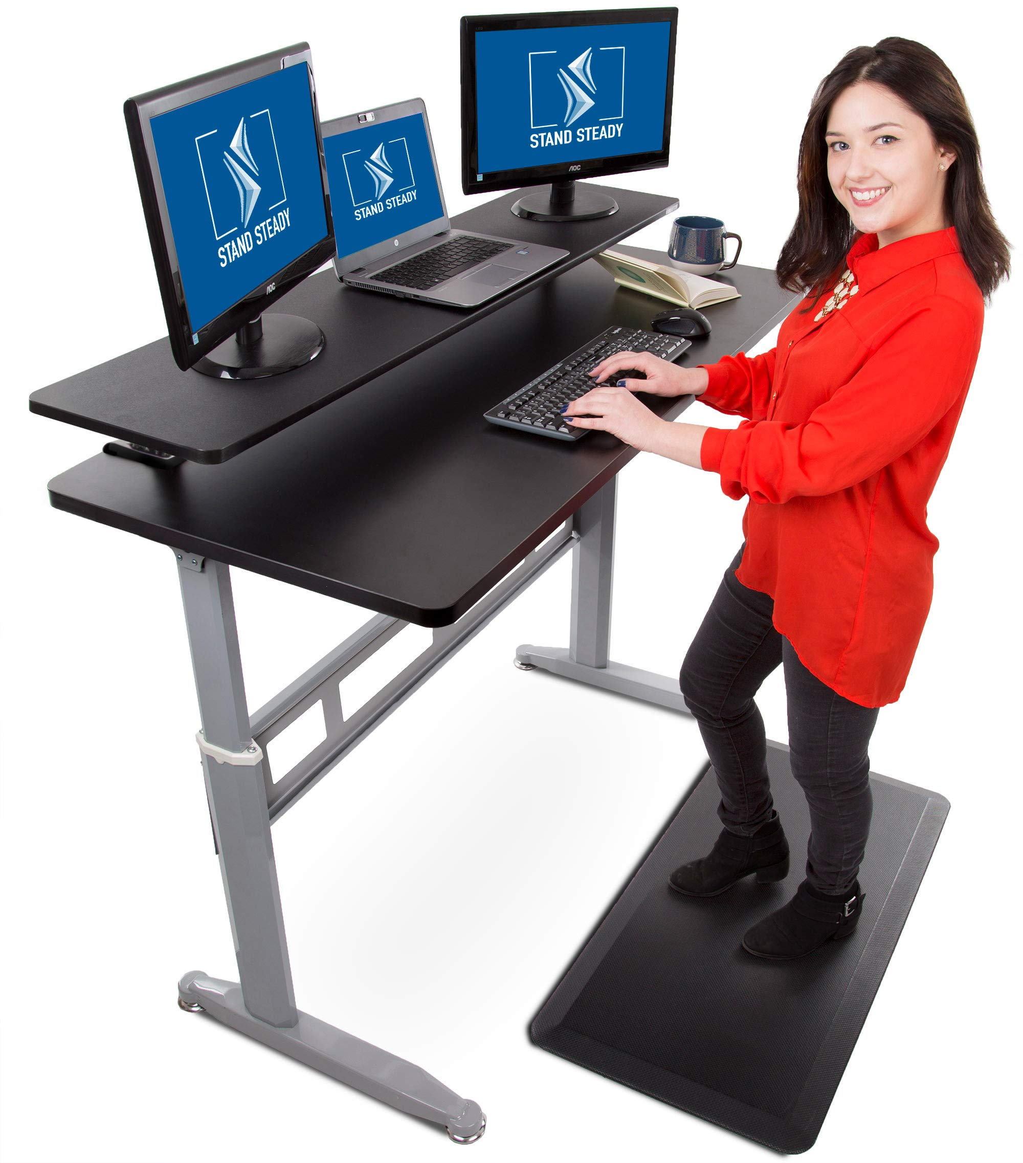 Stand Steady Tranzendesk 55 Inch Standing Desk with 55 Inch Clamp On Shelf - Easy Crank Stand Desk and Attachable Monitor Riser Stand Supports 3 Monitors and Adds Desk Space! (55''/Silver Legs)
