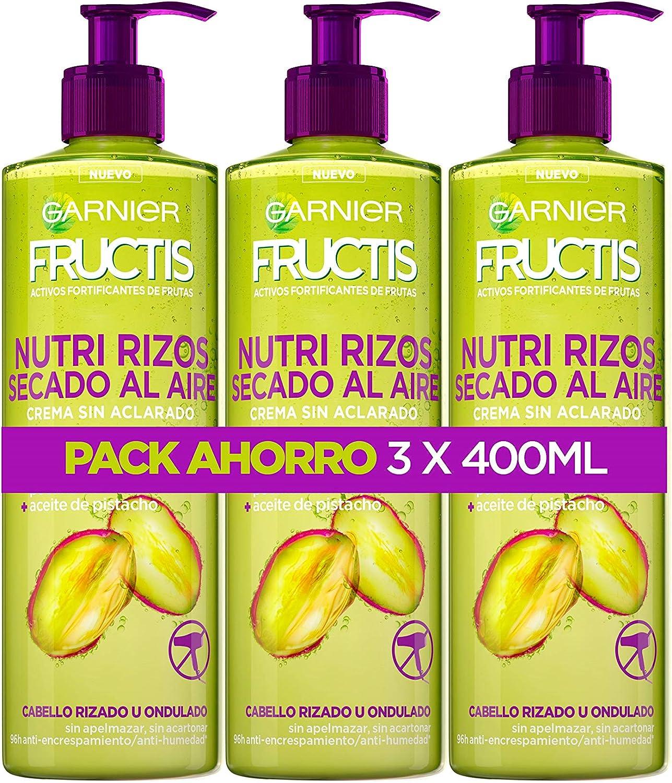 Garnier Fructis Nutri Rizos Secado al Aire Crema Sin Aclarado para Pelo Rizado u Ondulado – 3 Unidades x 400 ml