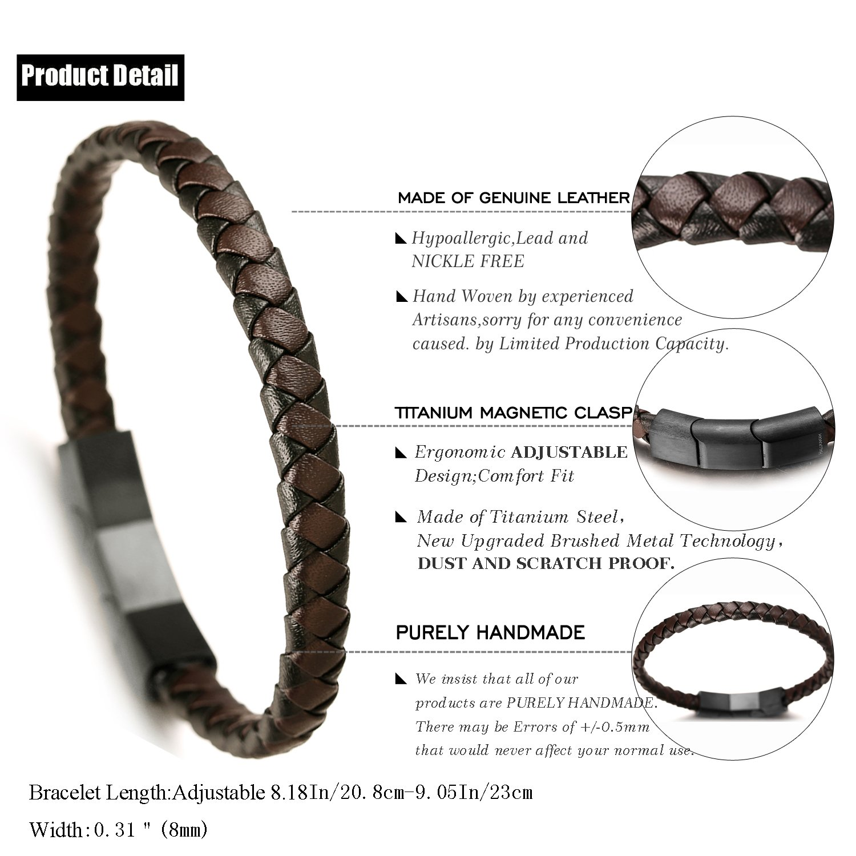 21.5cm avec Le Bo/îte-Cadeau Gratuit Halukakah Pr/émium ● Tango ● Le Bracelet de l/'Homme en Cuir V/éritable Fait /à la Main Boucle Magn/étique de Titane 8.46