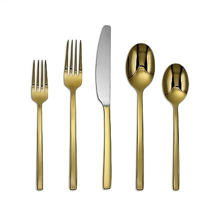 Cambridge Silversmiths 20 Piece Beacon Flatware Set, Gold Mirror, Service  For 4