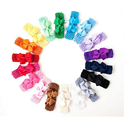 16 Double Prong Bow Clips with 16 Matching Crochet Headbands