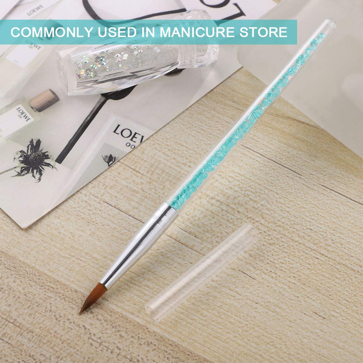 Acrylic Nail Brush for Acrylic Powder Manicure Pedicure Nail Art Brushes with Rhinestone Handle Nail Painting Brush 6pcs