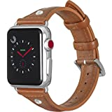 ALADRS Slim Leather Watch Straps Compatible with Apple Watch Band, Thin Narrow Small Wristband Replacement with Diamond Rhinestone for iWatch Series 5 4 (44mm) Series 3 2 1 (42mm), Brown