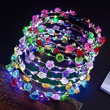 5x LED Blumen Kranz Haarband Blüten Haarkranz Stirnband Haarschmuck Hochzeit