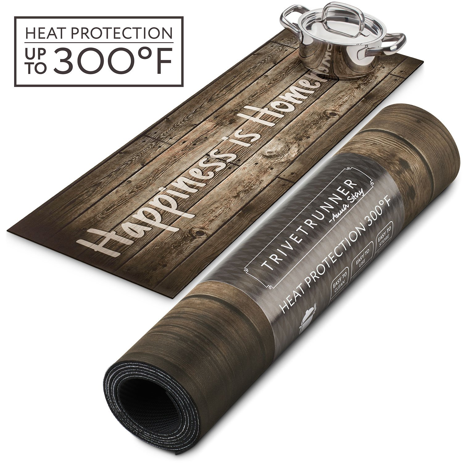 TRIVETRUNNER Farmhouse Decorative Trivet and Kitchen Table Runners Handles Heat Up to 300F, Anti Slip, Hand Washable, and Convenient for Hot Dishes and Pots,Hand Washable (wood rustic)