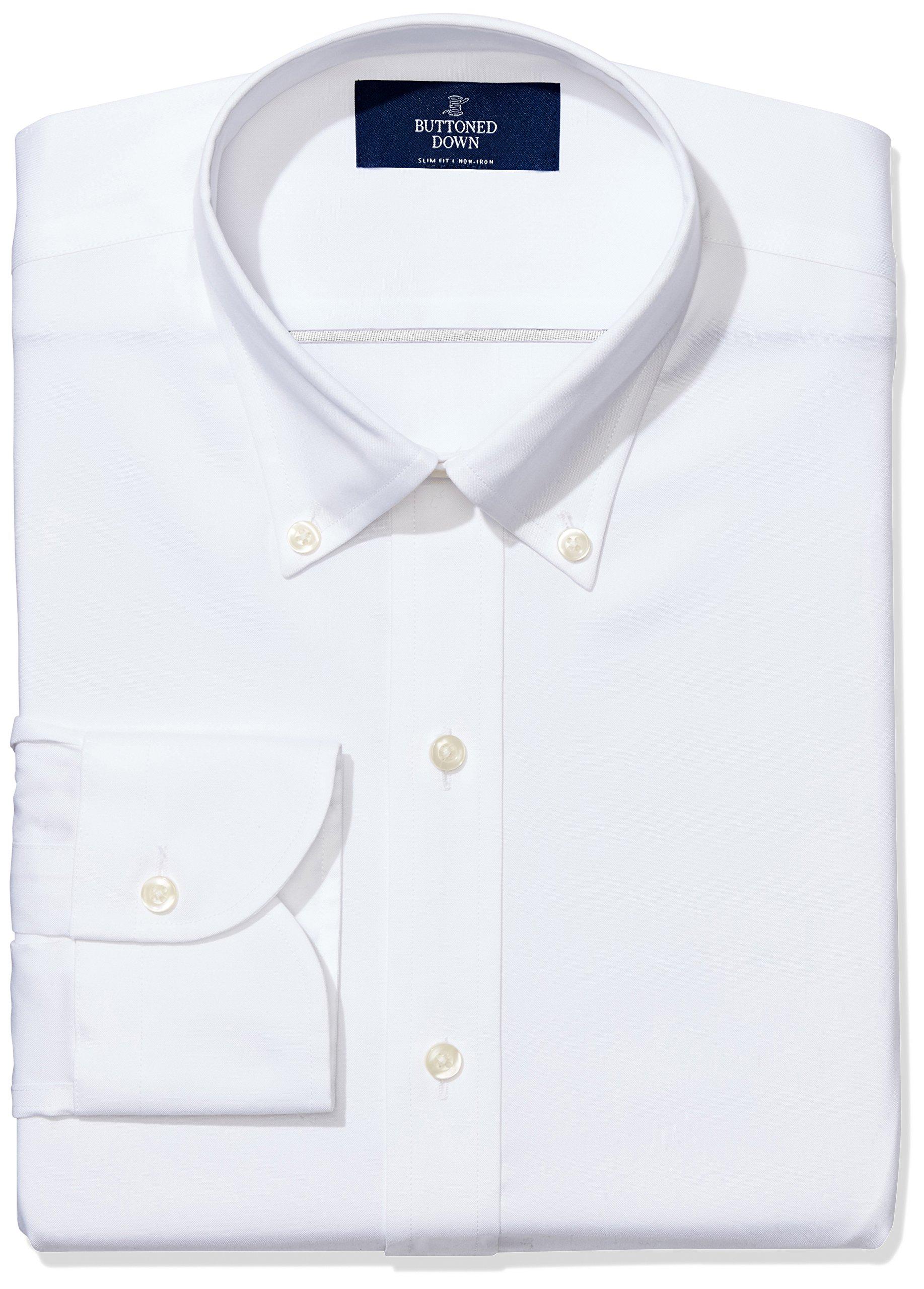 BUTTONED DOWN Men's Slim Fit Button-Collar Non-Iron Dress Shirt (No Pocket), White, 16'' Neck 36'' Sleeve