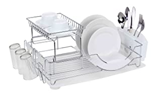 Home Basics Deluxe 2 Tier Kitchen Stainless Steel Countertop Dish Drying Rack, With Side Mounting Mug Stand, Removable Utensil Caddy, and Removable Dish Tray Drainboard