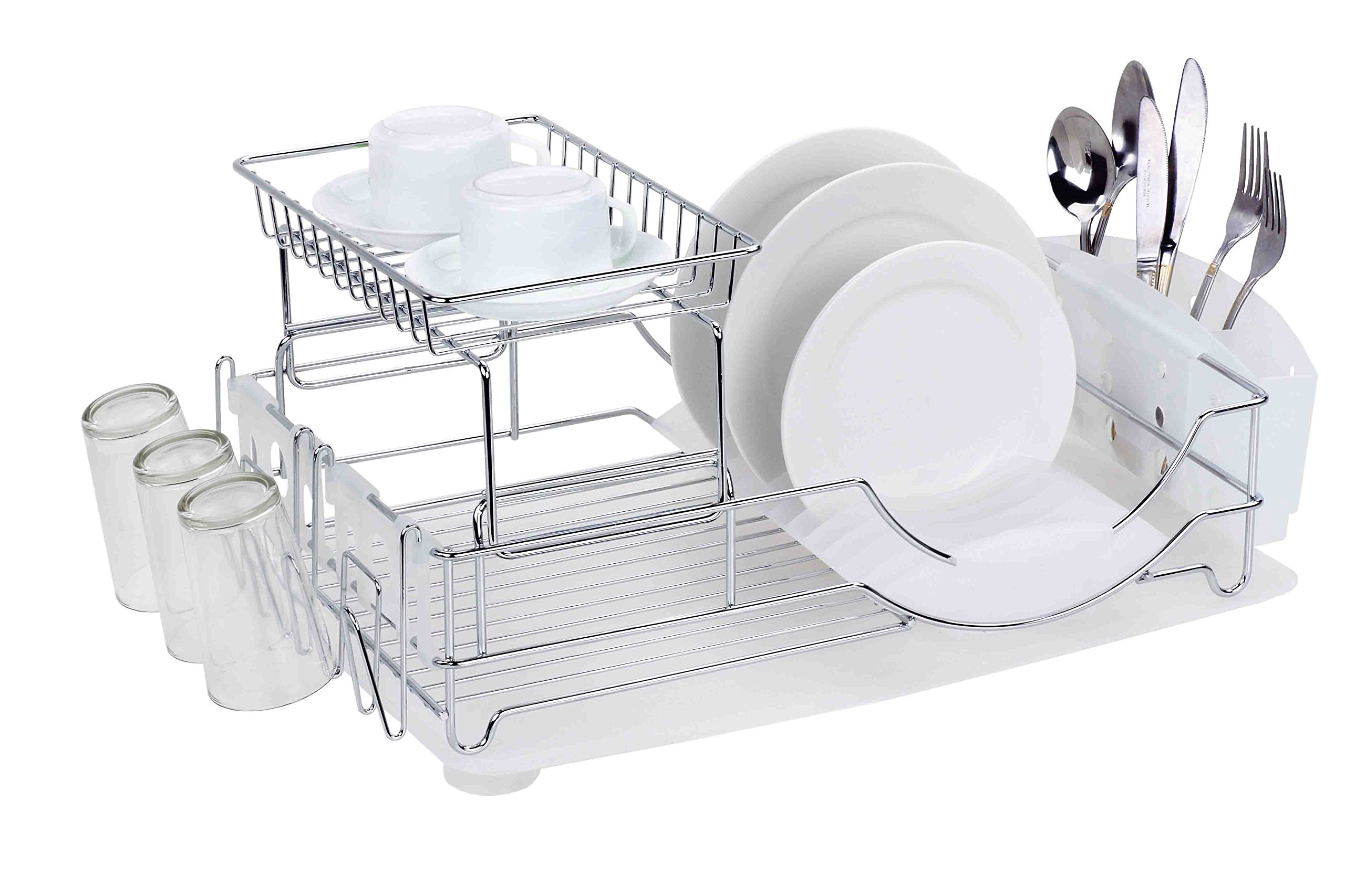 Home Basics 2-Tier Dish Rack and Drainer, White