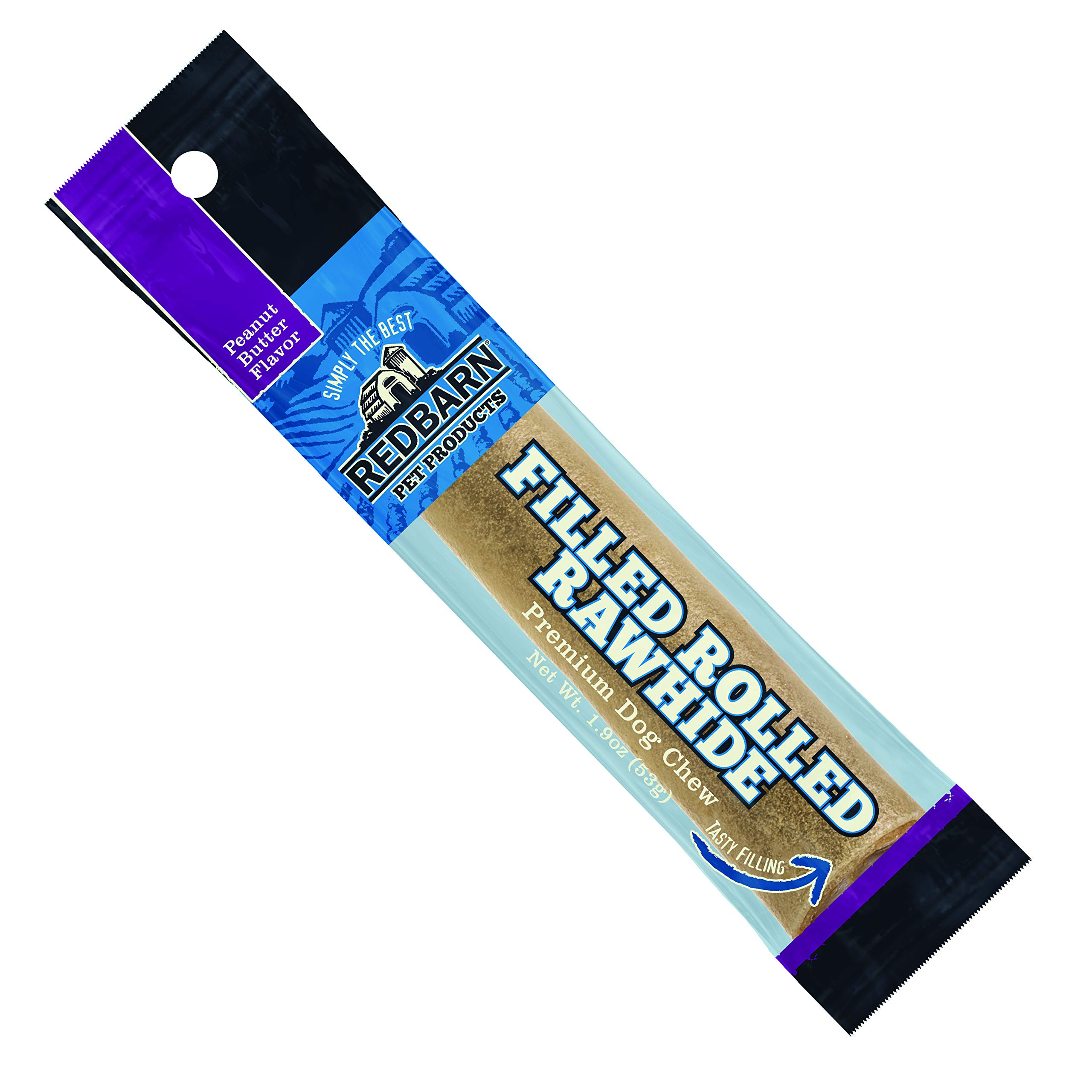 Redbarn Filled Rolled Rawhide, 6 Inch, Peanut Butter Flavor Premium Dog Chew, 24 Count by REDBARN