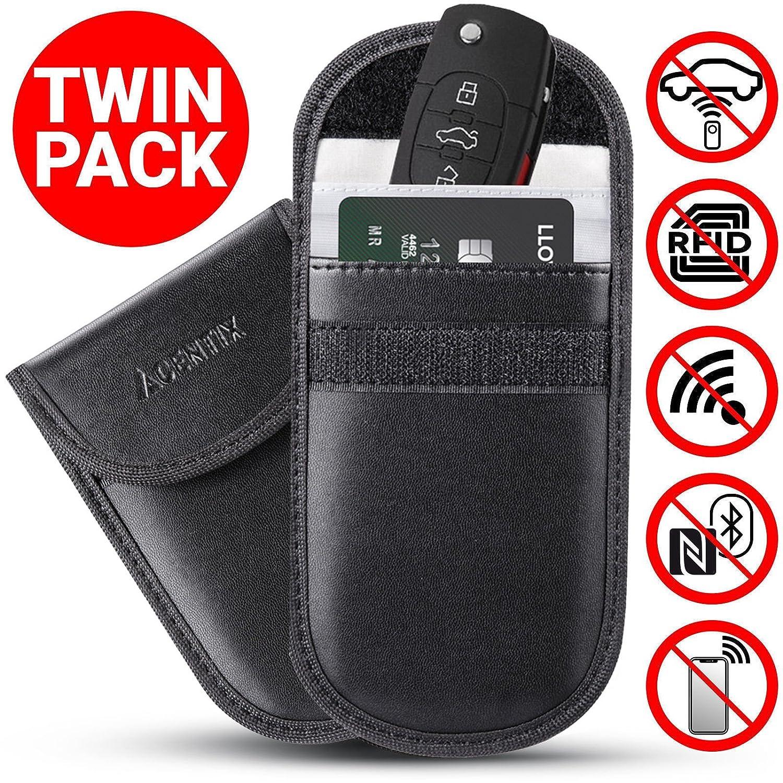 ACENTIX 4 x Keyless Car Key Signal Blockers/Faraday Bags for Car Keys & Credit Card, PU Leather Anti Theft Fob Protector Pouch & Car Key Protector Blocks RFID/NFC/WiFi/GSM/LTE (4 Pack/Black)