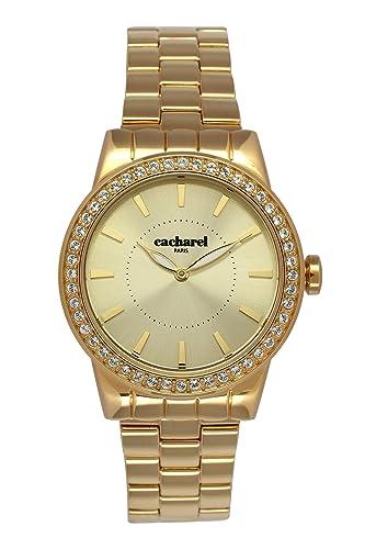 Cacharel - Reloj Analógico de Cuarzo para Mujer, correa de Acero inoxidable color Dorado: Amazon.es: Relojes