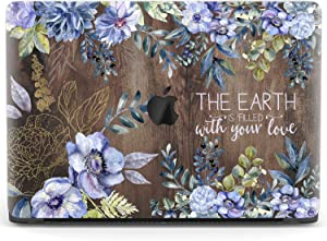 Mertak Hard Case for Apple MacBook Pro 15 2020 Air 13 inch Mac 16 Retina 12 11 2019 2018 2017 Psalm 119:64 Clear Bible Verse Design Flowers Christian Print Touch Bar Wood Laptop Protective Cover Quote