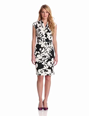 Jones New York Women's Floral Surplice Dress with Side Ruched Embellishment, Midnight/Multi, 2