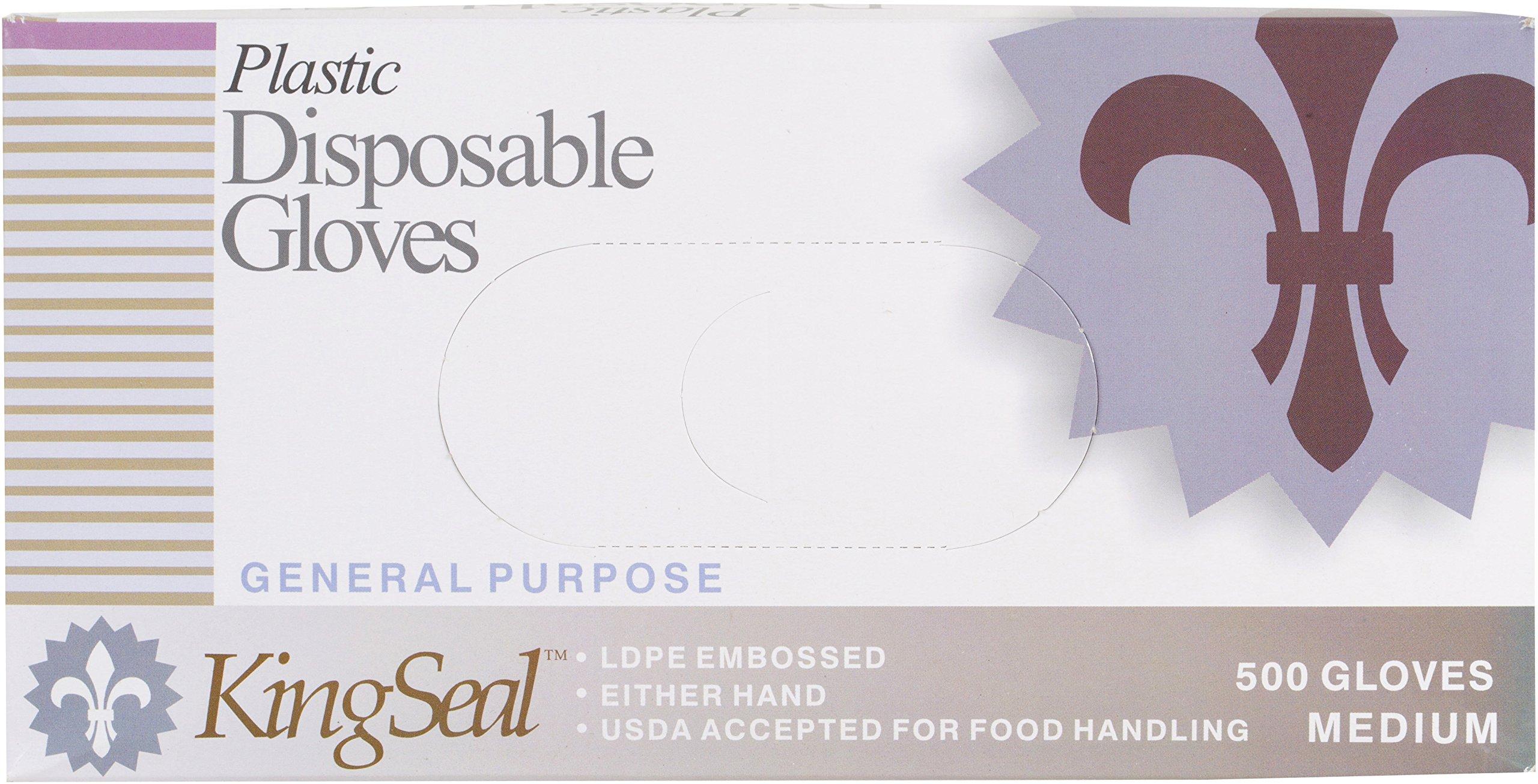 KingSeal Embossed Poly Disposable Gloves, Powder-Free - Medium, 4 bx/500 per Case