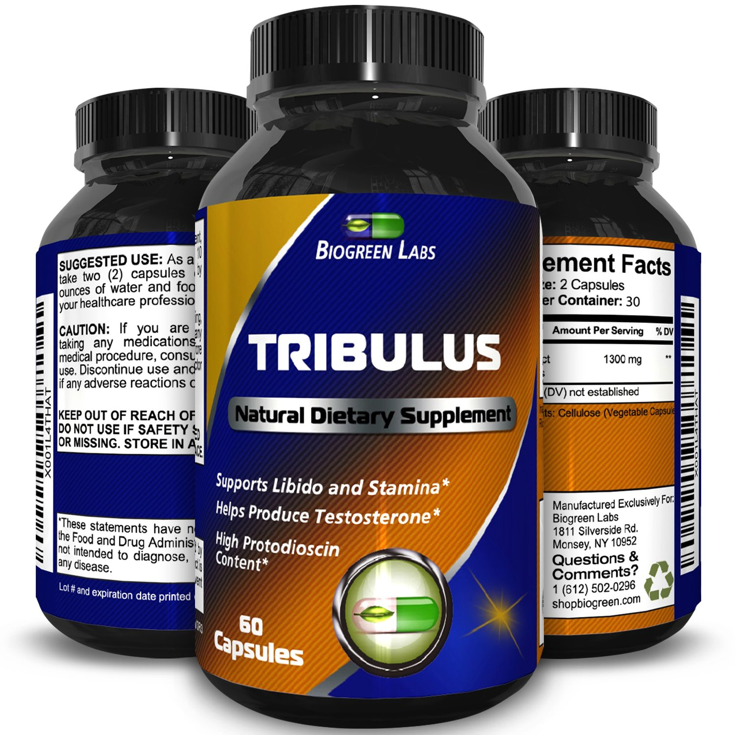 TRIBULUS TERRESTRIS 1300 mg  90 Capsules A Natural Supplement Boosts Vitality and Energy, Tribulus Increases Testosterone Levels for Improved Sexual Performance and Stamina by Biogreen Labs