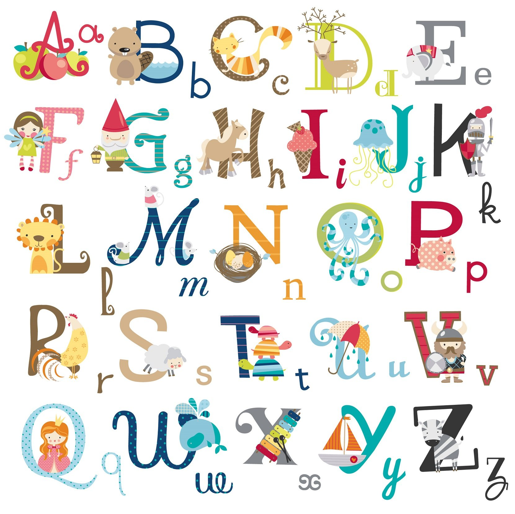 Delightful Big Graphic Alphabet Letters Kids Room/Nursery Wall Decal Stickers
