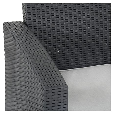 Azuma negro Superior de vidrio de ratán jardín sillas ...