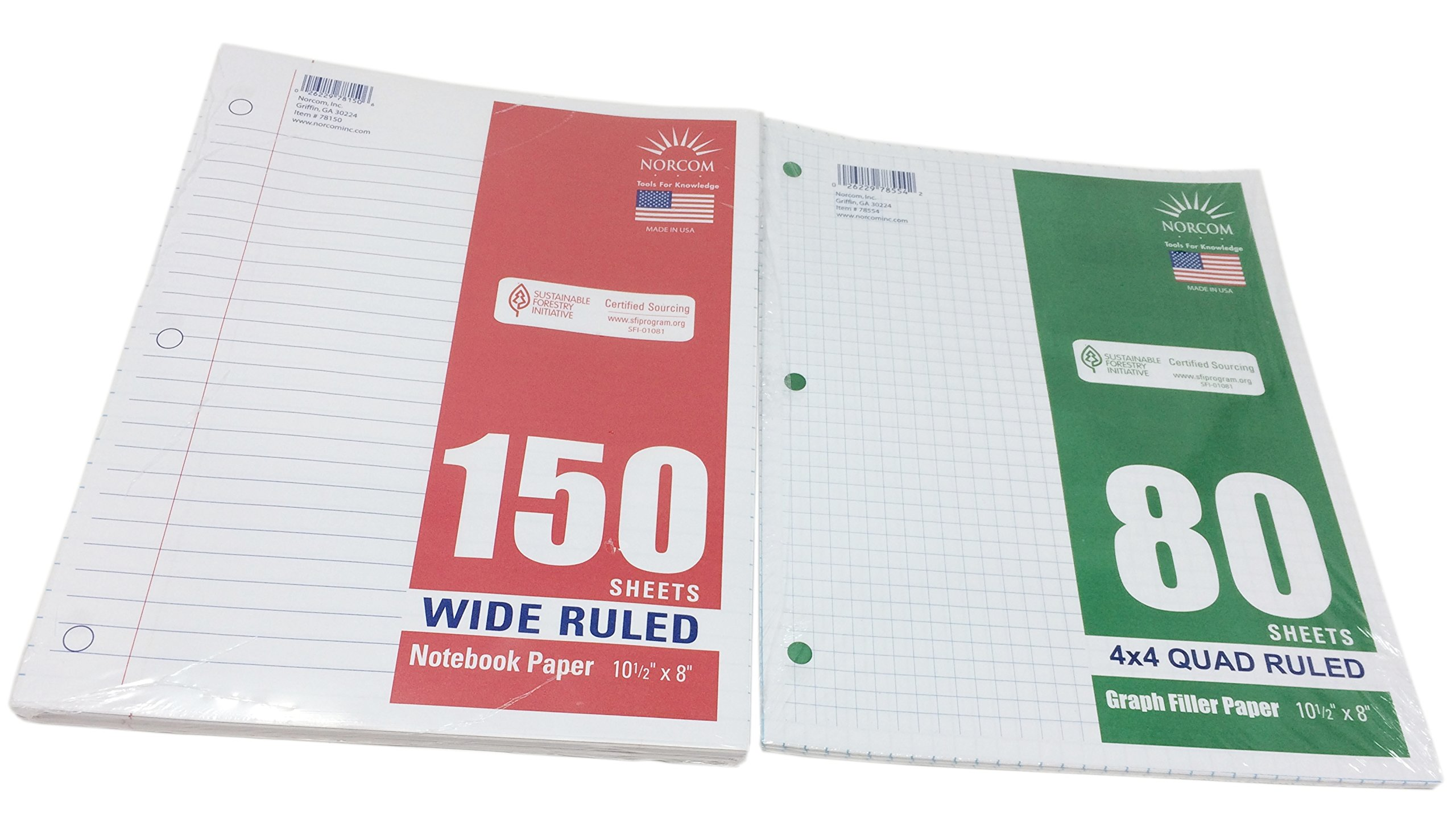 Norcom Loose-Leaf Wide Ruled Filler Notebook Paper and Graph Paper