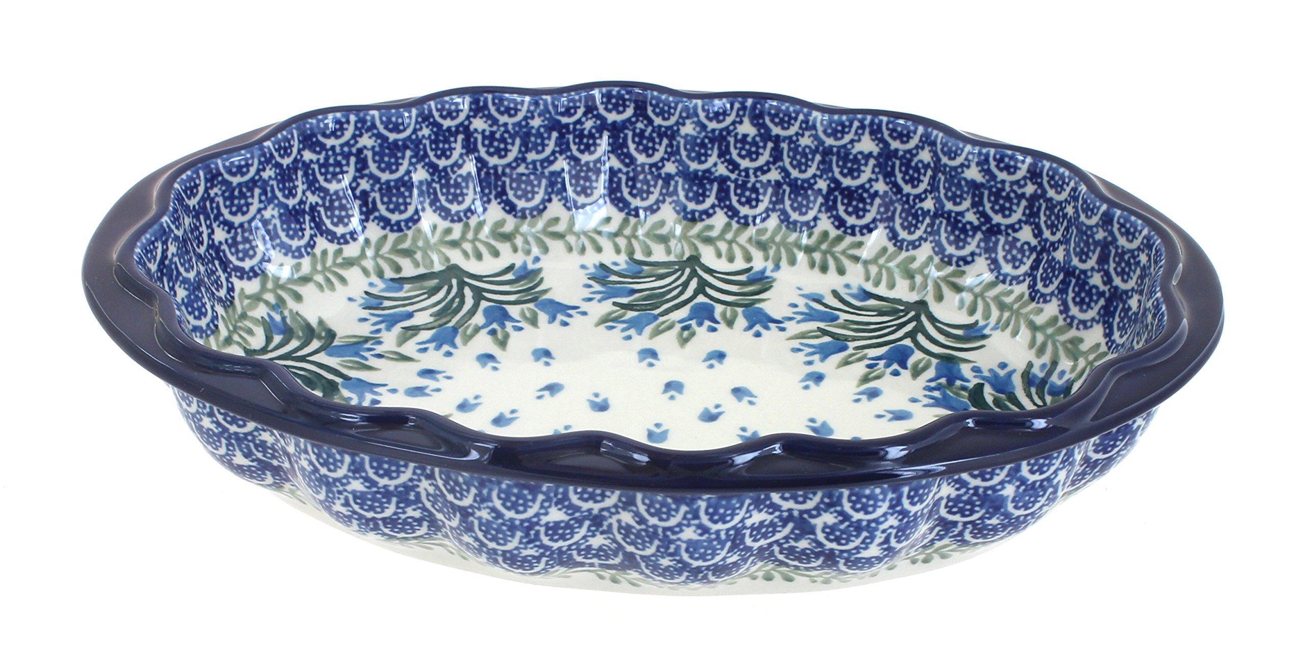 Blue Rose Polish Pottery Tulip Bouquet Scallop Baking Dish