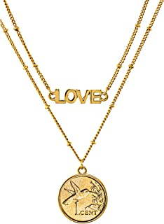 product image for American Coin Treasures Hummingbird Coin Necklace Pendant Double Strand Love Chain– Genuine Gold-Layered Coin | Goldtone Saturn Style Chain and Lobster Claw Clasp | Certificate of Authenticity