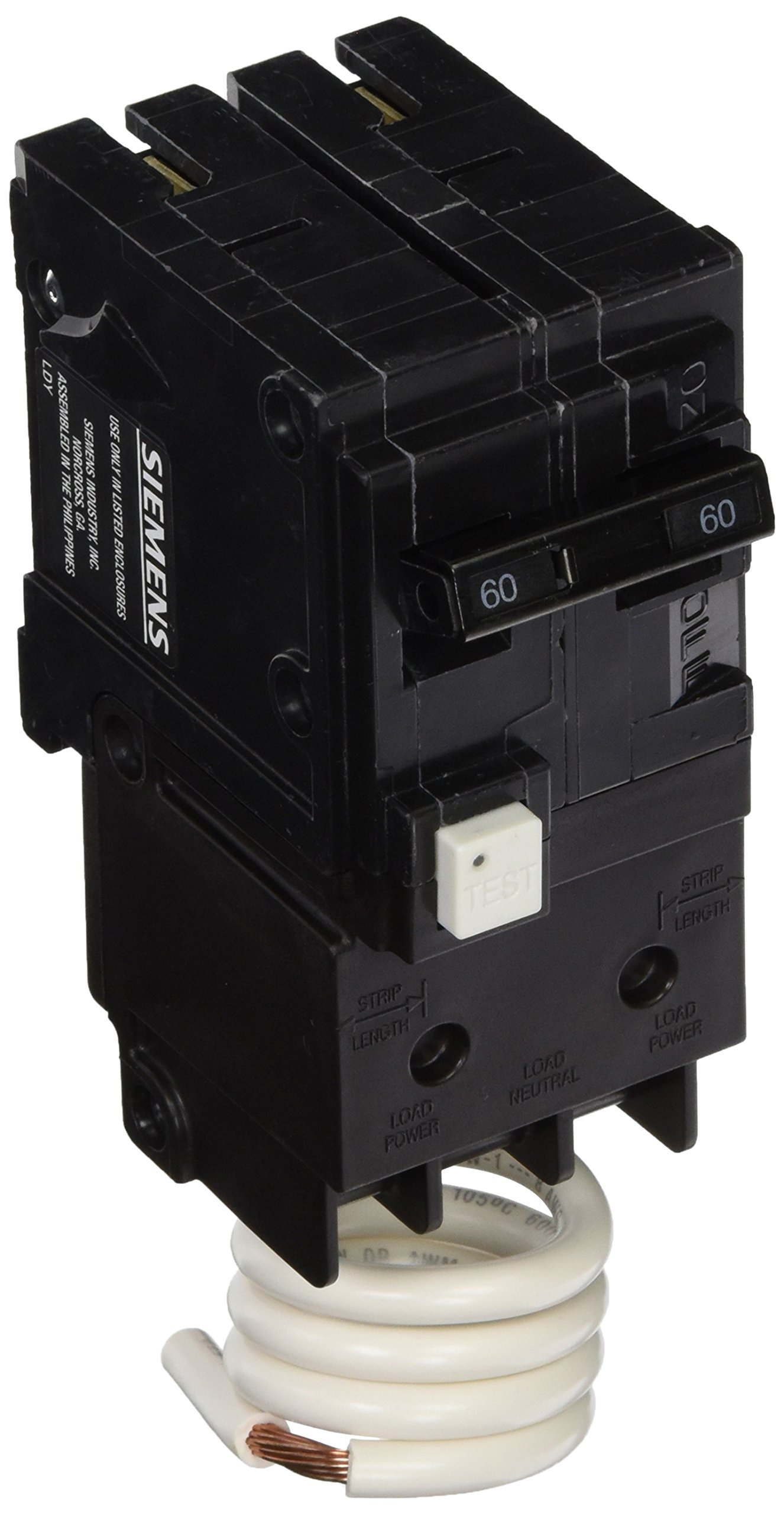 Siemens QF260A 60 Amp, 2 Pole, 120/240V Ground Fault Circuit Interrupter with Self Test and Lockout Feature