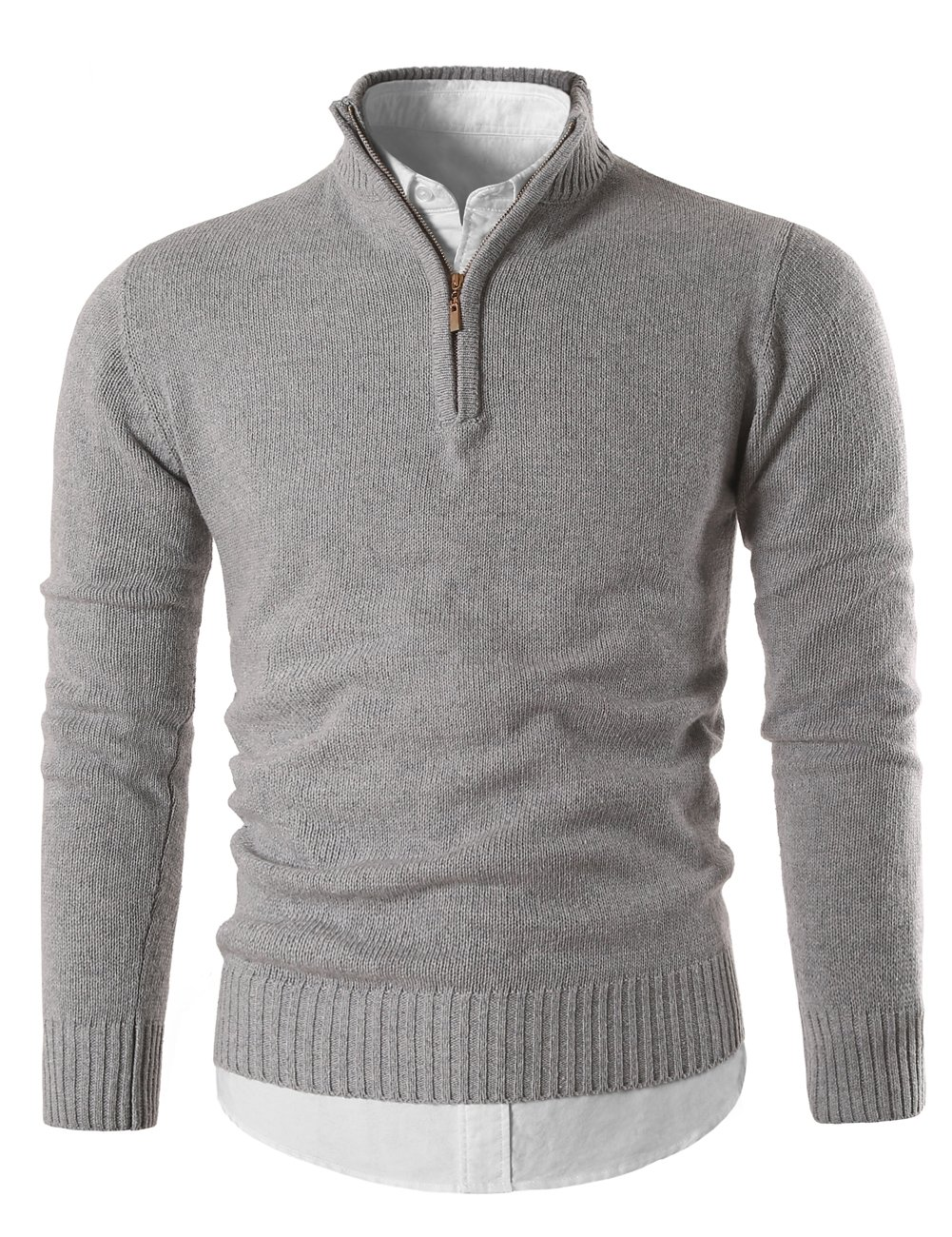 MIEDEON Mens Slim Fit Zip up Mock Neck Polo Sweater Casual Long Sleeve Sweater and Pullover Sweaters with Ribbing Edge (LightGray, M)