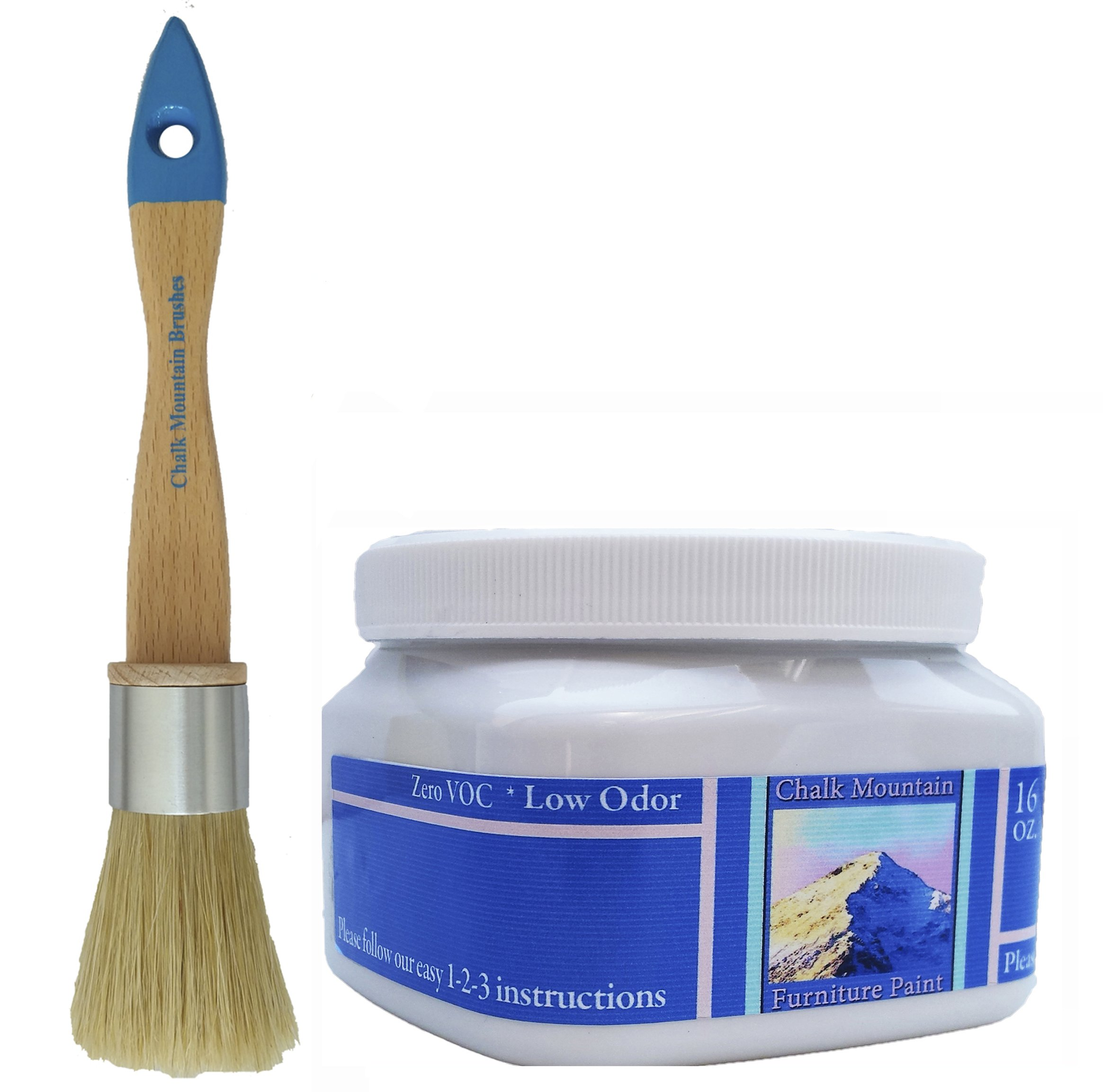 ''NEW LOOK'' Chalk Mountain Chalk Furniture Paint - 16oz Chalk Furniture Paint & Small Round Boar Hair Bristle Paint Brush - Starter Paint Kit (#27)