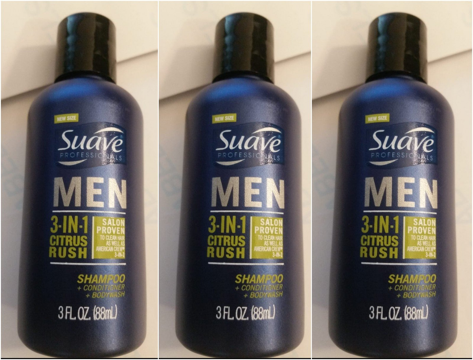 Suave Men 3-in-1 Shampoo + Conditioner + Body Wash Citrus Rush 3 oz Travel Size (pack of 3) by KT Travel
