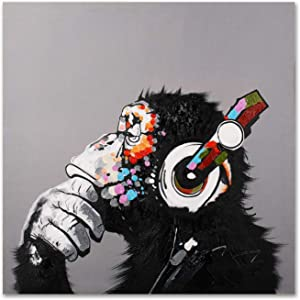 Modern Pop Art Decor - Framed - Thinking Monkey with Headphones Canvas Print Home Decor Wall Art, Gallery Wrap Inner Frame, 24x24