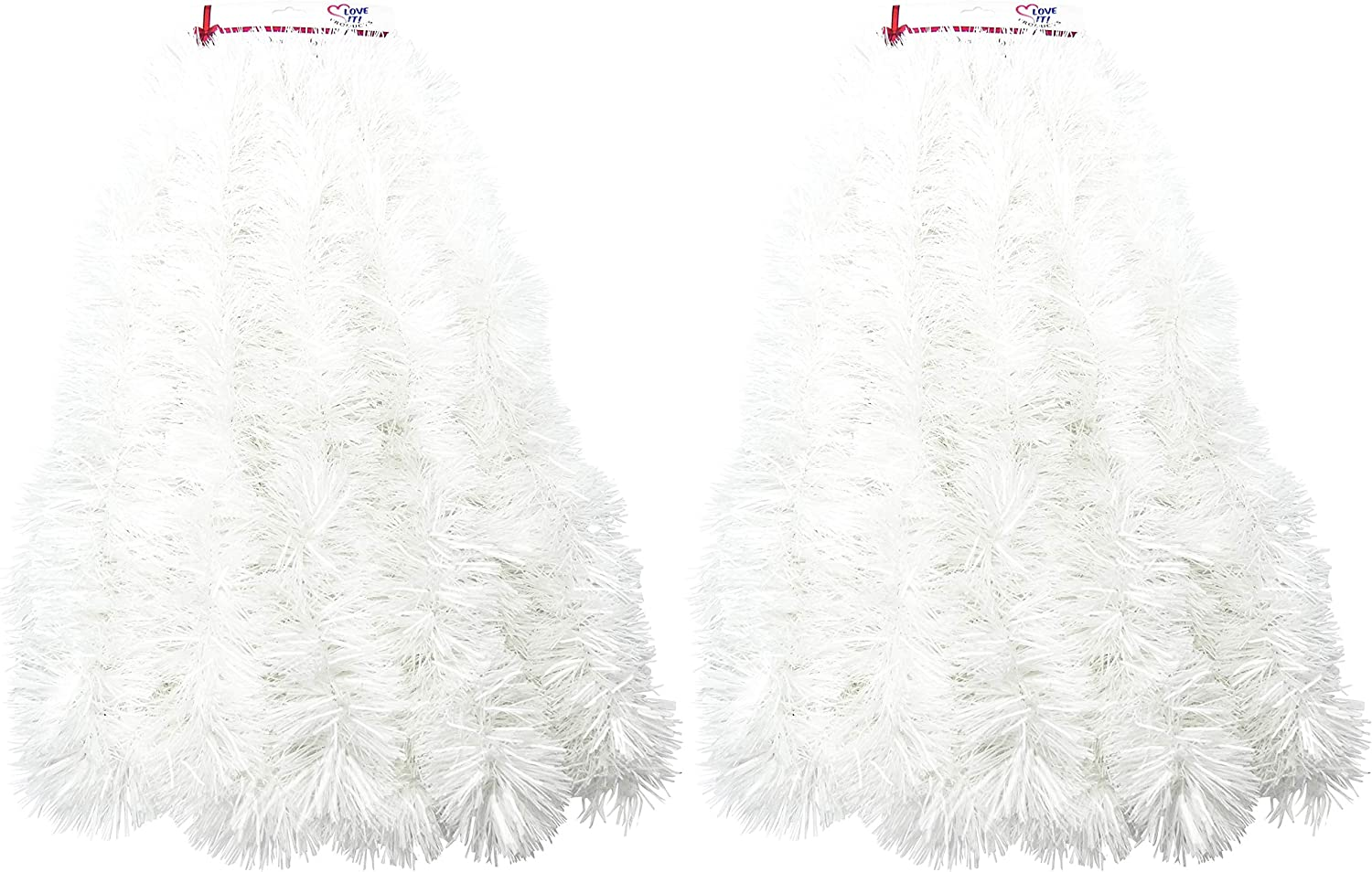 2 Pack 1 Blue 1 White 1 Blue 1 White Super Duper Thick Tinsel Garland 50 Ft Total 1 Blue, 1 White, 2 Packs of 25 ft Tinsel, 50 ft. Total Two Strands Each 25 ft Long