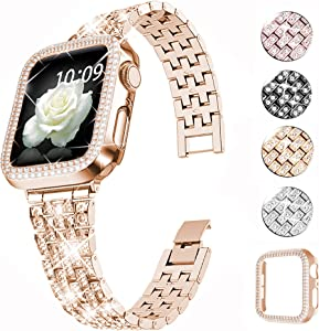QVLANG Compatible Apple Watch Band 38mm 40mm 42mm 44mm Series 6/5/4/3/2/1/SE,Bling Series Band for Women + Diamond Rhinestone Case, Stainless Steel Metal Bracelet Strap for iWatch (Rose Gold, 42mm)