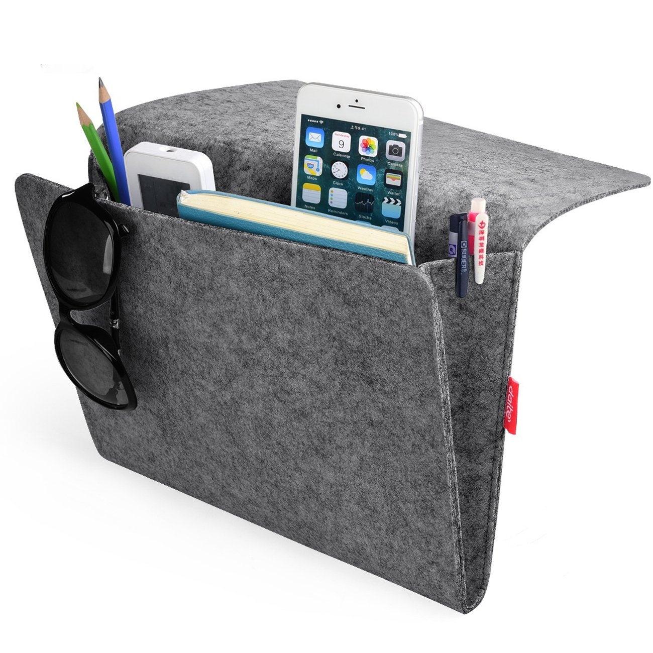 Bedside Caddy, Felt Bed Caddy Storage Organizer Bedside Pocket inside with 2 Small Pockets for organizing tablet Magazine Phone Small Things Home Sofa Desk Holder (Gray) KEHANGDA T105