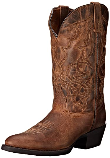 9ac23f6a74a2 Laredo Womens Tan Maddie Leather Cowboy Boots 11in Embroidered 6 M