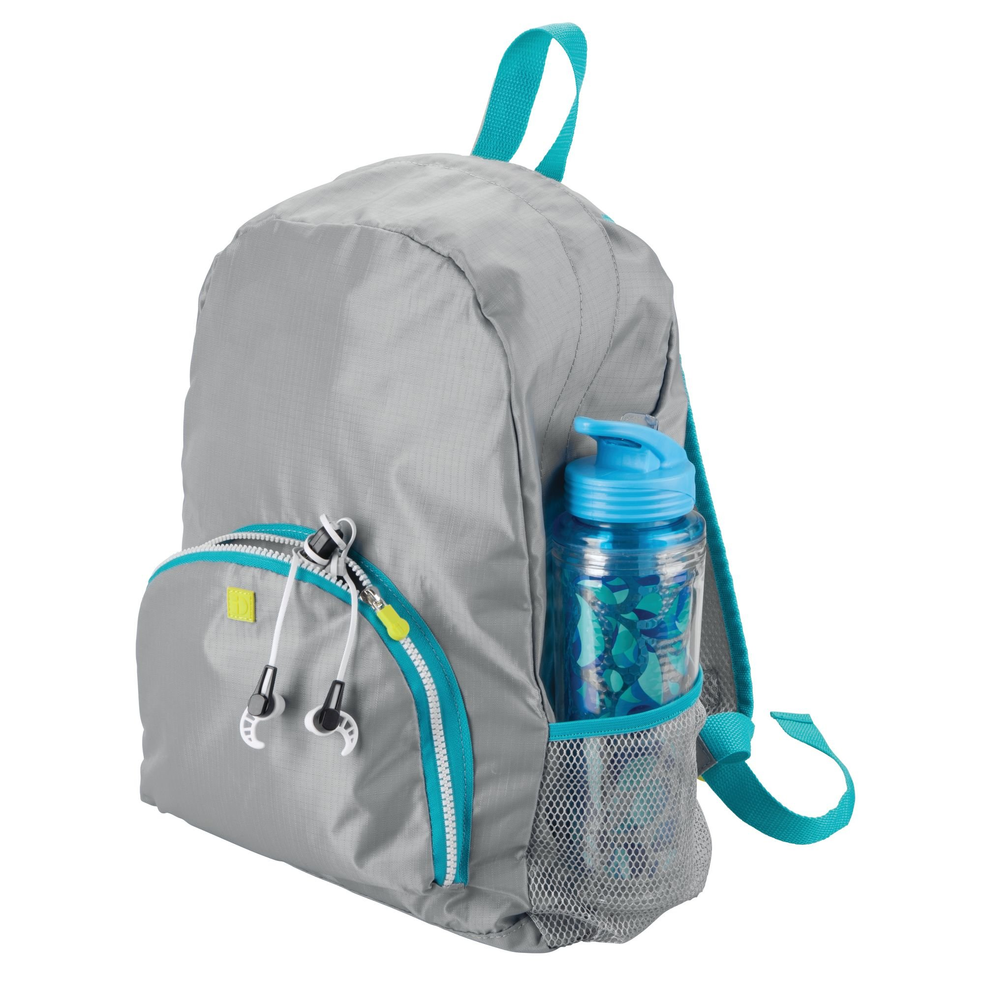 mDesign Lightweight Collapsible Travel Backpack: Top Handle, Adjustable Mesh-Lined Straps and 2-Way Zipper: Perfect for a Carry On, Duffel Bag, Gym Bag – Gray/Teal Blue Trim with White Zipper