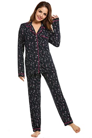 new style 8f64d c8a8c EKOUAER Damen Lang Pyjama Sehr Soft und Weich Schlafanzug Modal  Zweiteiliger Polka Dot XS-XXL
